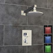 Thermostatic 1 Way Shower Valve | 2 Square Handles with Round LED Overhead Shower Drencher | EcoSpa®
